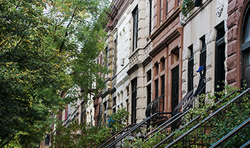Close up of some brownstones.